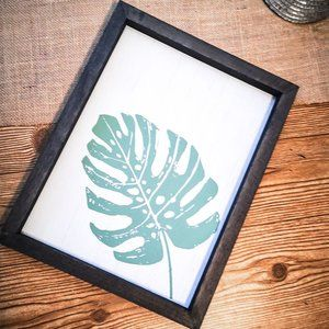 philodendron leaf hand painted wood sign